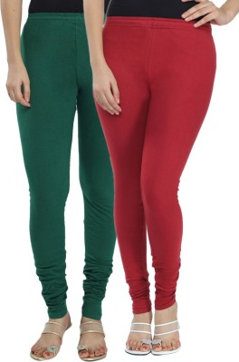 Fexy Women's Dark Green, Maroon Leggings