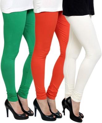 Pannkh Women's Green, White, Orange Leggings