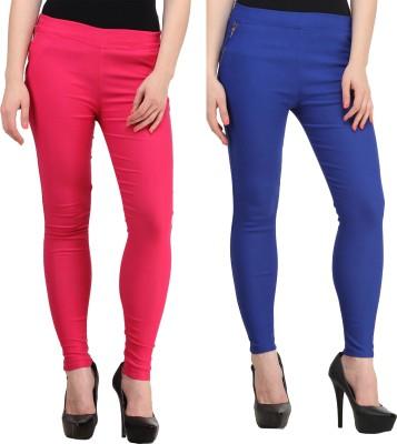 PRIHO Women's Pink, Blue Jeggings