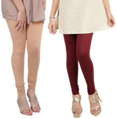 Bembee Women's Beige, Maroon Leggings