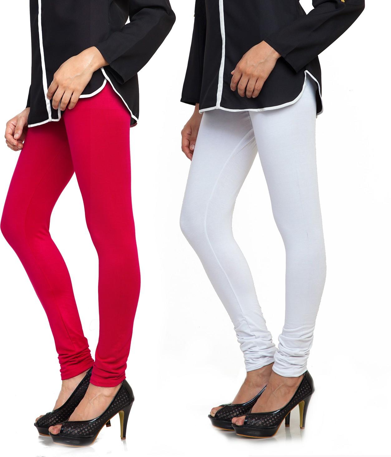 Bulbul Womens Red, White Leggings(Pack of 2)