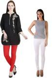 MDR Women's Red, White Leggings (Pack of...
