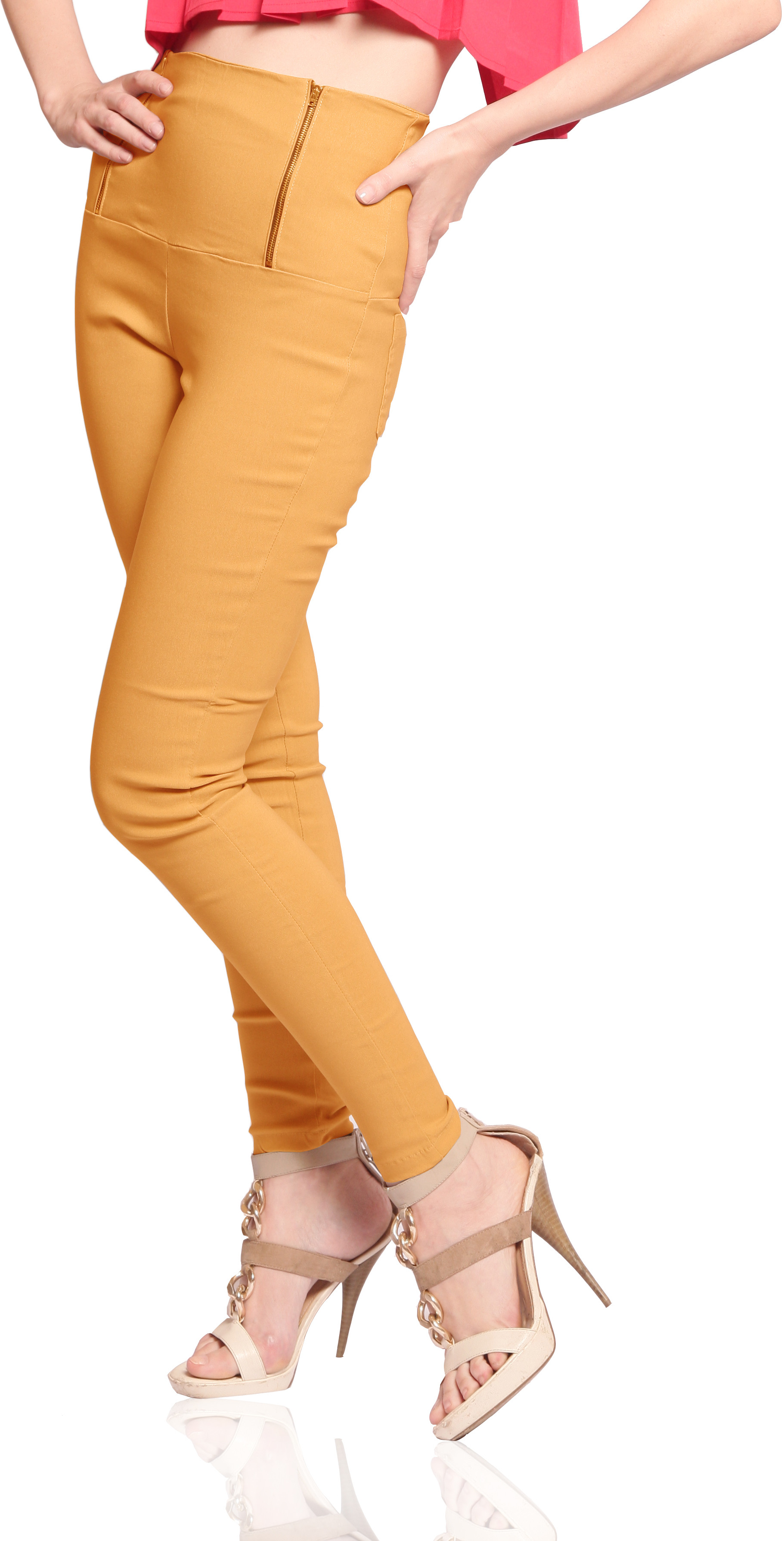 Miss Chase Womens Yellow Jeggings