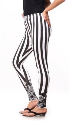 Global Trendz Women,s Black, White Leggings