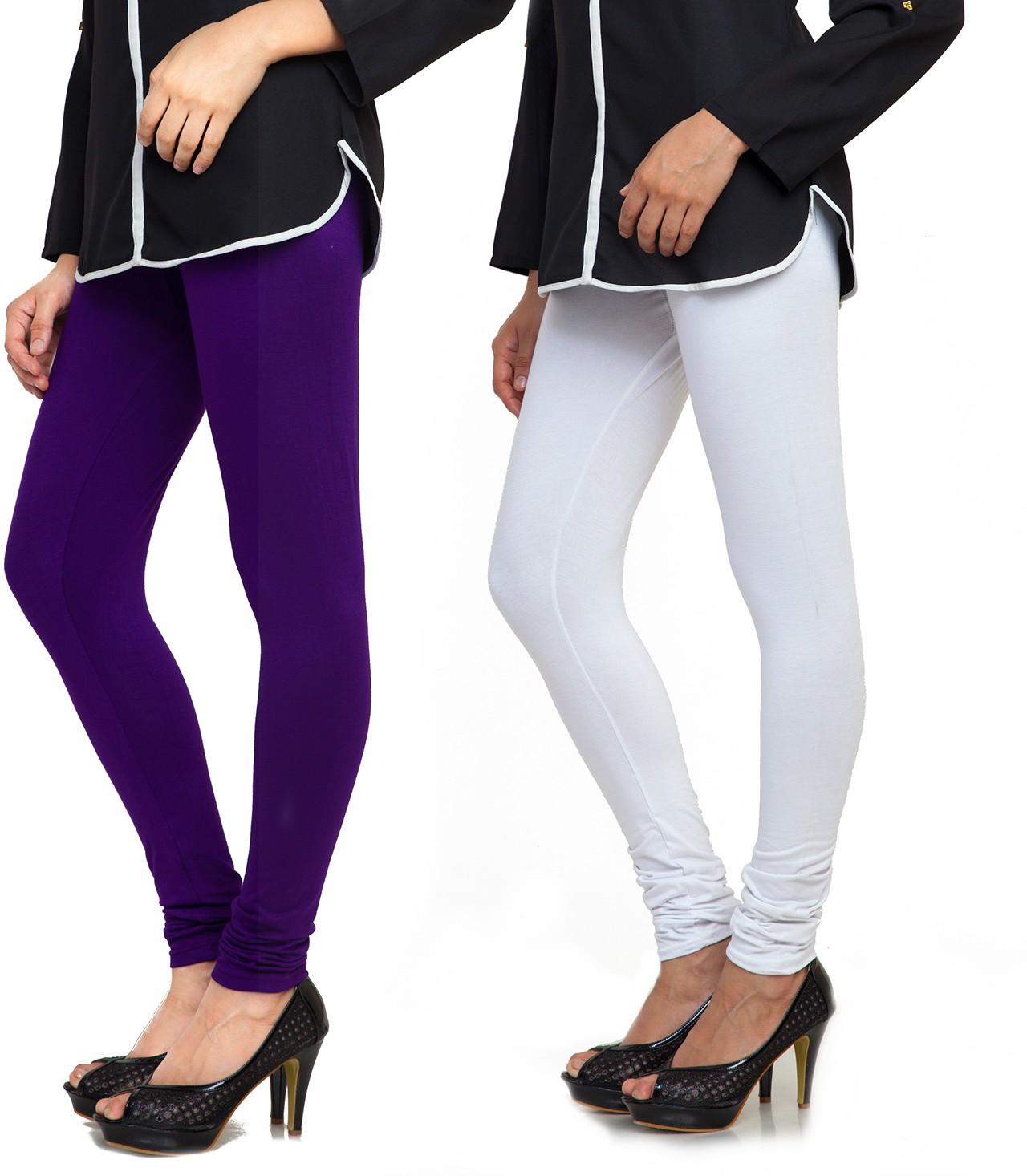 Bulbul Womens Purple, White Leggings(Pack of 2)