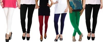 Escocer Women's Black, White, Maroon, Blue, Green Leggings