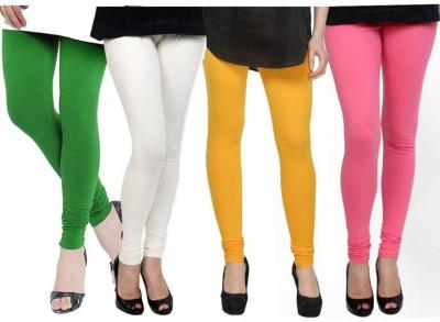 Fashion Zilla Women's Green, White, Yellow, Pink Leggings