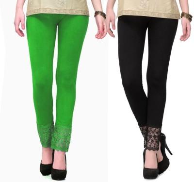Fashion Arcade Women's Green, Black Leggings