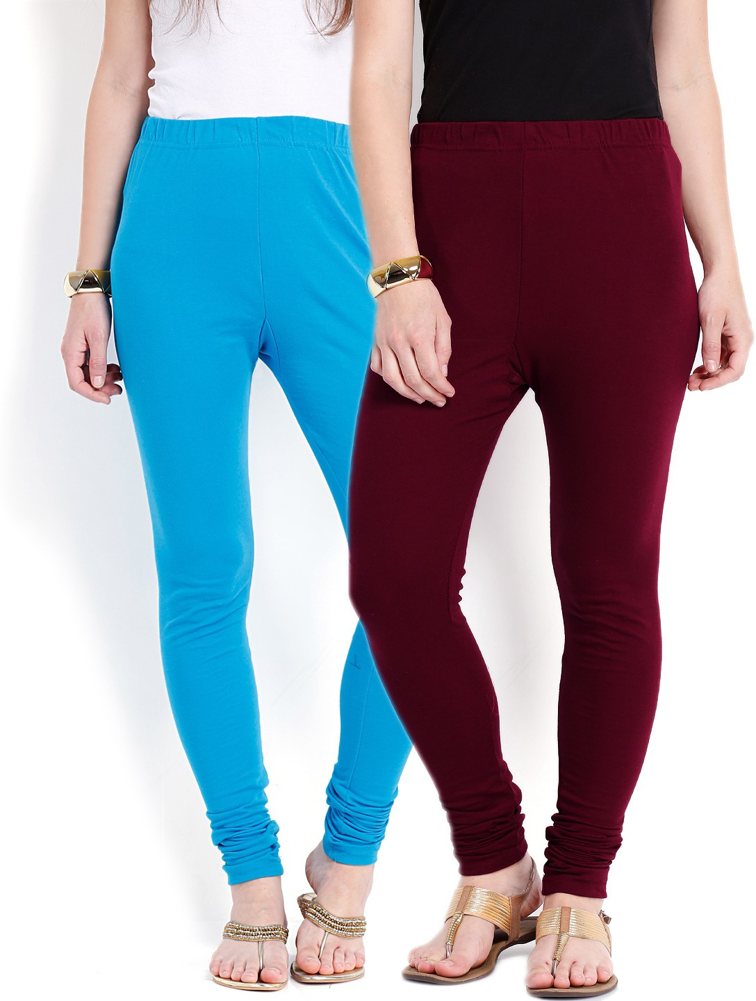 Ten on Ten Womens Blue, Maroon Leggings(Pack of 2)