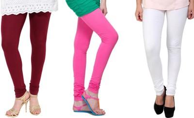 Lienz Women's Maroon, Pink, White Leggings