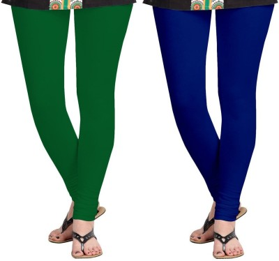 D-Nimes Women's Blue, Green Leggings(Pack of 2)