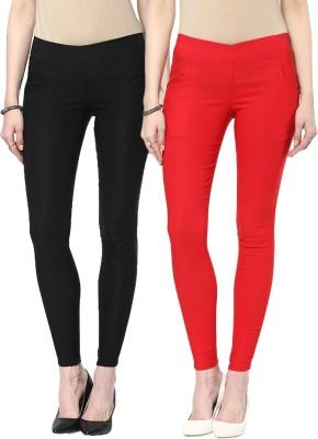 Zea-Al Women's Black, Red Jeggings
