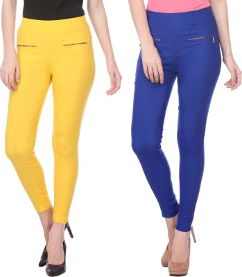 Flying Duck Women's Yellow, Blue Jeggings