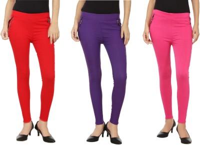 Emblazon Women's Red, Pink, Purple Jeggings