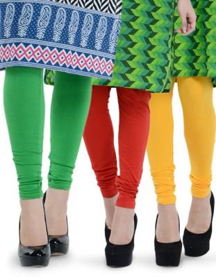 Tjaggies Women's Light Green, Red, Yellow Leggings