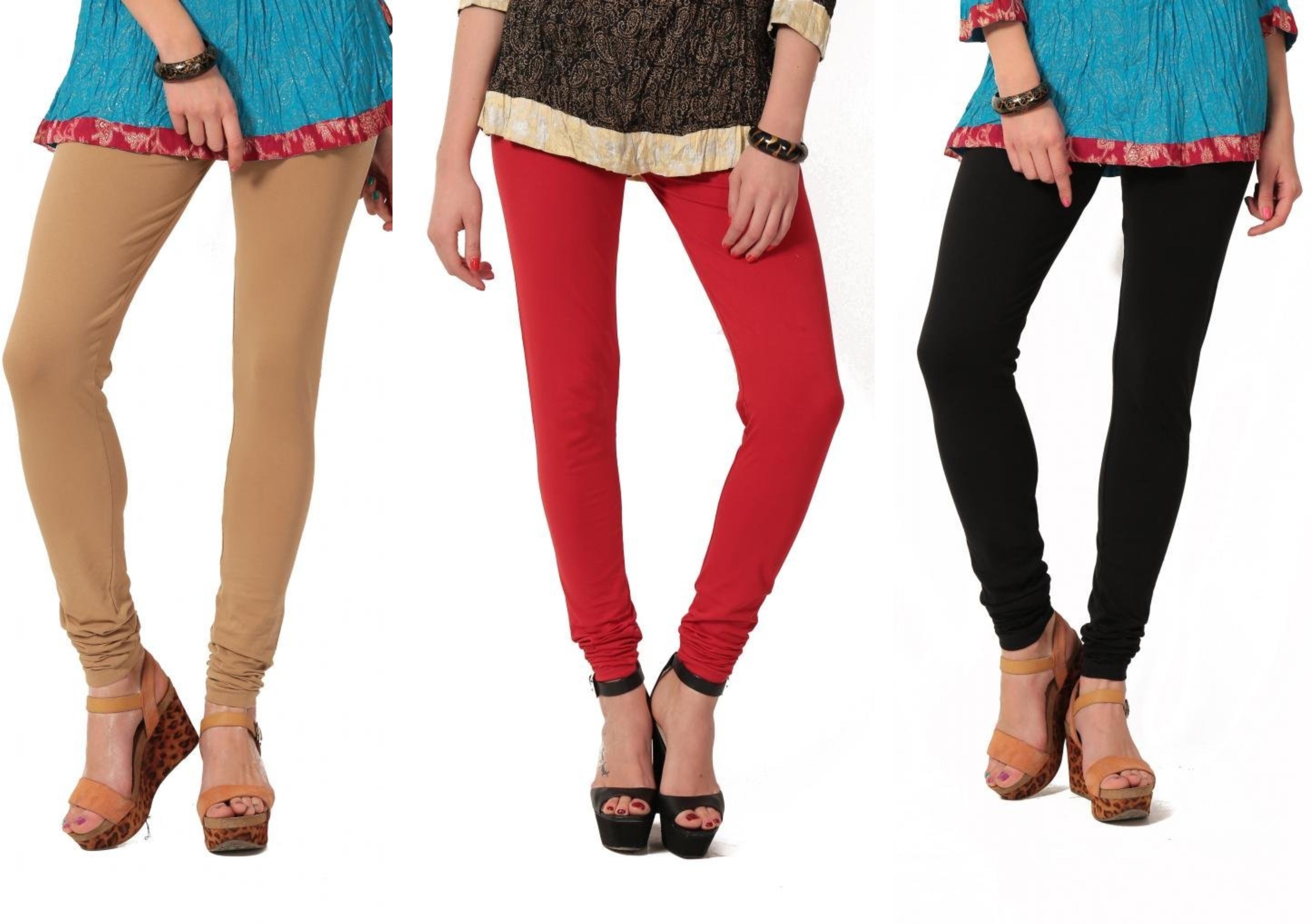 Angel Soft Womens Beige, Red, Black Leggings(Pack of 3)