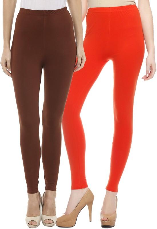Sakhi Sang Women's Brown, Orange Leggings(Pack of 2)