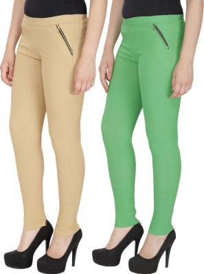 RZLECORT Girls Brown, Green Jeggings(Pack of 2)