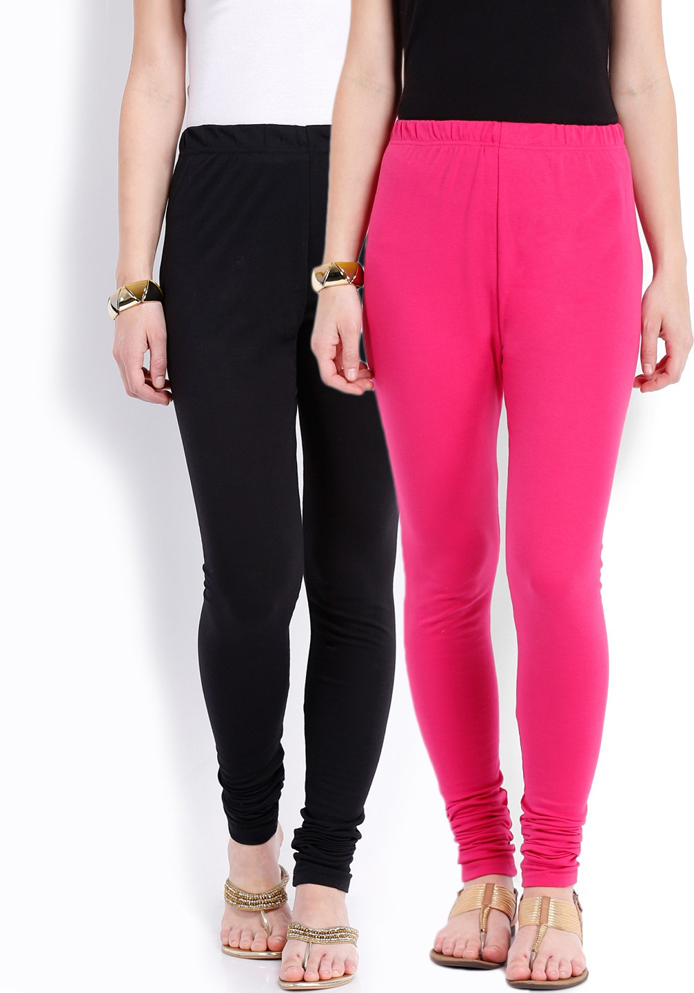 Ten on Ten Womens Black, Pink Leggings(Pack of 2)