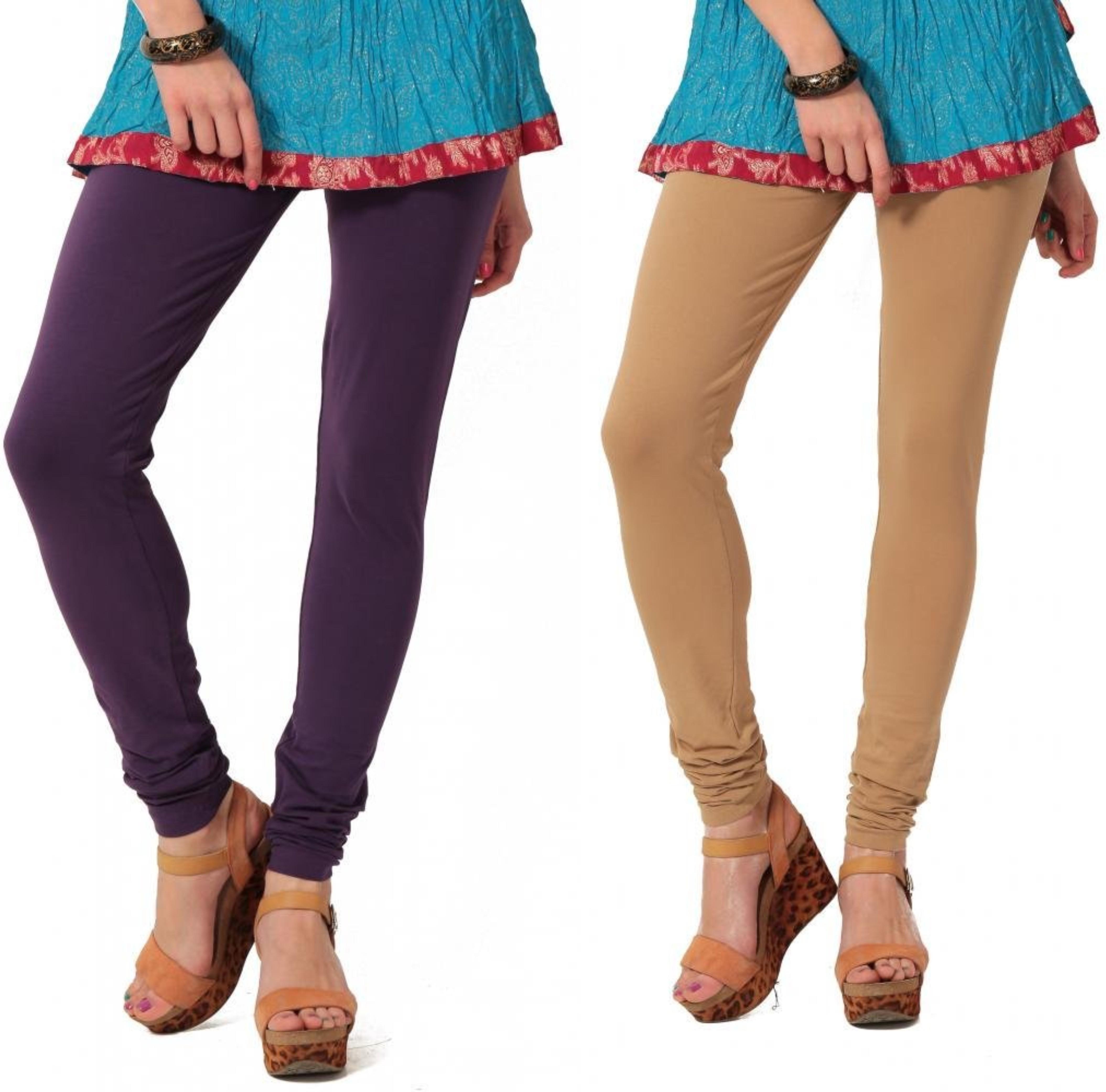 Angel Soft Womens Purple, Beige Leggings(Pack of 2)