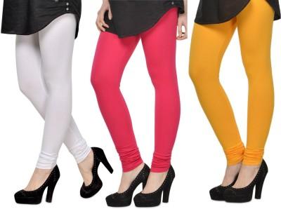 SareeGalaxy Women's White, Pink, Yellow Leggings