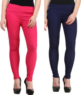 Jainish Women's Pink, Dark Blue Jeggings