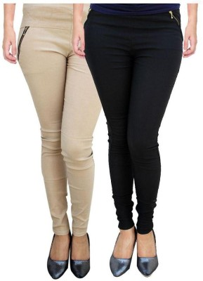 Dimpy Garments Women,s Black, Beige Jeggings