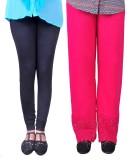 Anubhaviya Women's Pink, Black Leggings ...