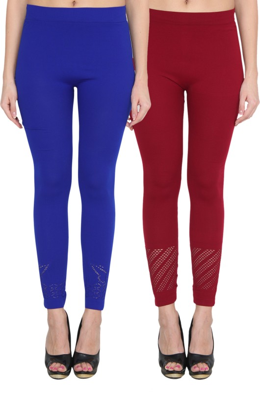 NumBrave Women's Blue, Maroon Leggings(Pack of 2)