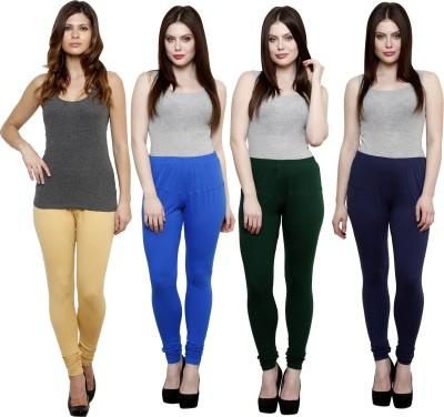 Pistaa Women's Beige, Blue, Dark Green, Dark Blue Leggings