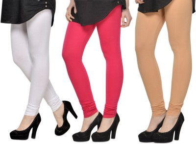 SareeGalaxy Women's White, Pink, Beige Leggings