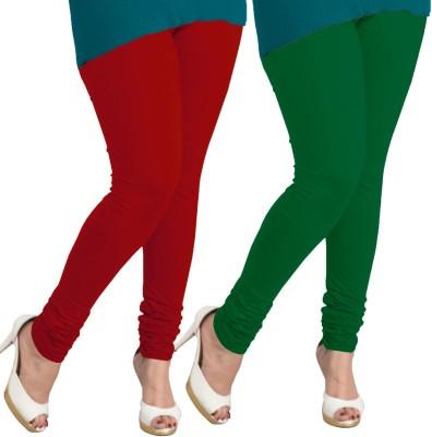I-Diva Women's Red, Dark Green Leggings
