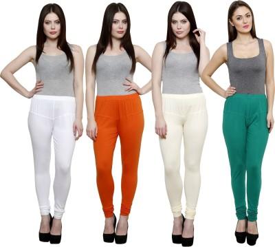 Pistaa Women's White, Orange, White, Green Leggings
