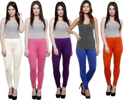 Pistaa Women's White, Pink, Purple, Blue, Orange Leggings