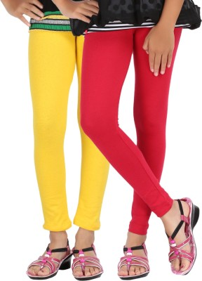 Be-Style Girls Yellow, Red Leggings(Pack of 2)