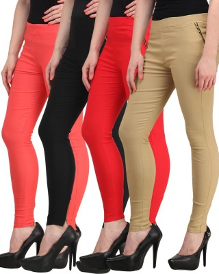 Jainish Women's Black, Red, Beige, Red Jeggings