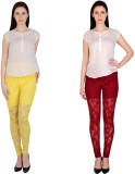 Simrit Women's Yellow, Maroon Leggings (...