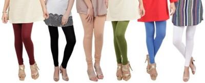 Prekrasna Women,s Maroon, Black, Gold, Light Green, Blue, White Leggings