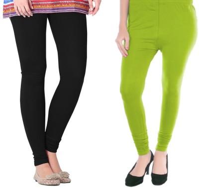 Colors More Women's Light Green, Black Leggings