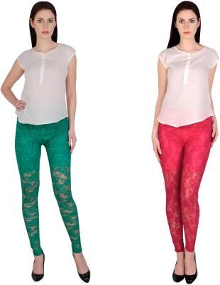 Simrit Women's Green, Pink Leggings