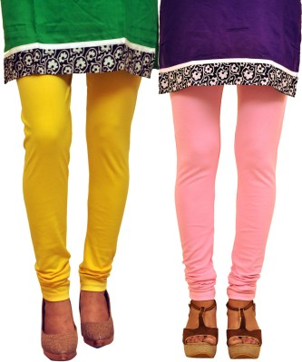 Dyed Colors Women's Yellow, Pink Leggings