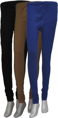 La Vastraa Women's Black, Beige, Blue Leggings