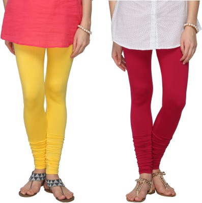 Fashionjackpot Women's Yellow, Pink Leggings