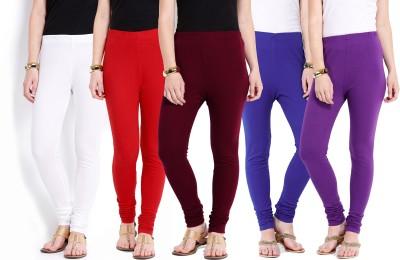 Ten on Ten Women's White, Maroon, Red, Purple, Blue Leggings