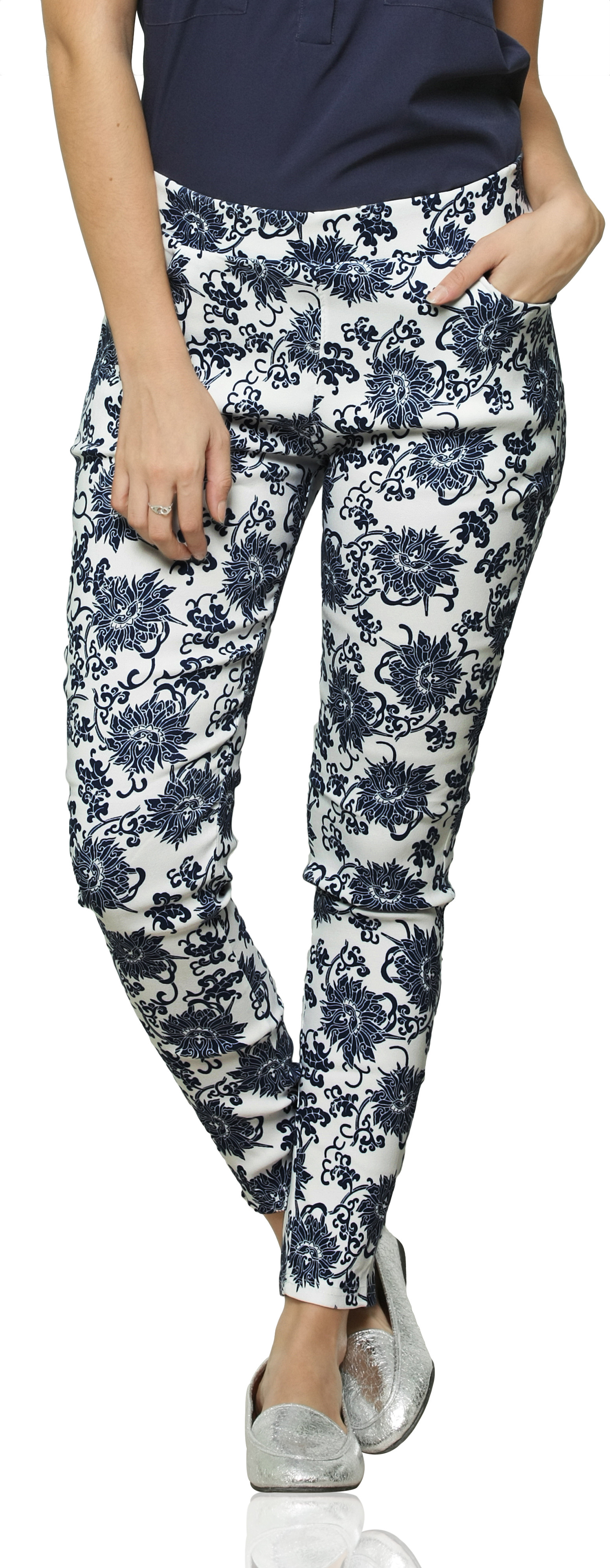 Miss Chase Womens Blue, White Jeggings