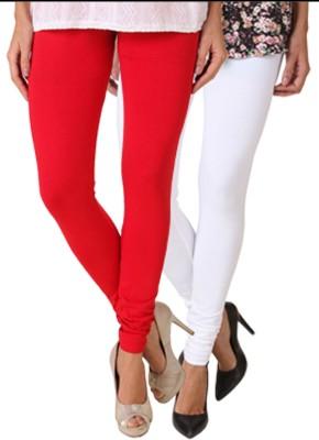 Fasense Women's White, Red Leggings