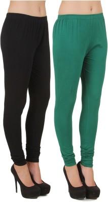 Stylishbae Women's Black, Dark Green Leggings