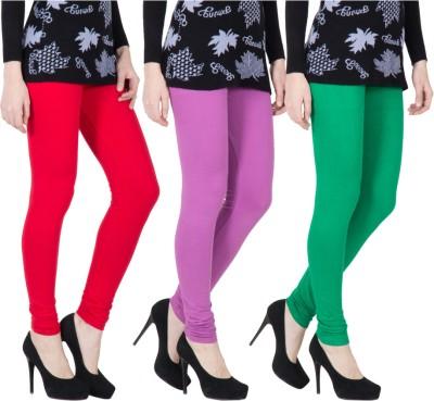 VERMELLO Women's Red, Purple, Green Leggings