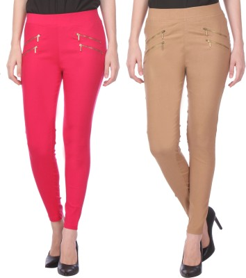 Flying Duck Women's Pink, Beige Jeggings