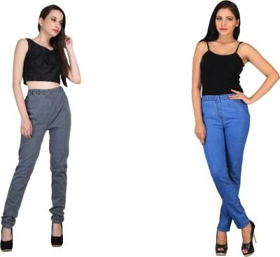 bella nova Women's Grey, Blue Jeggings